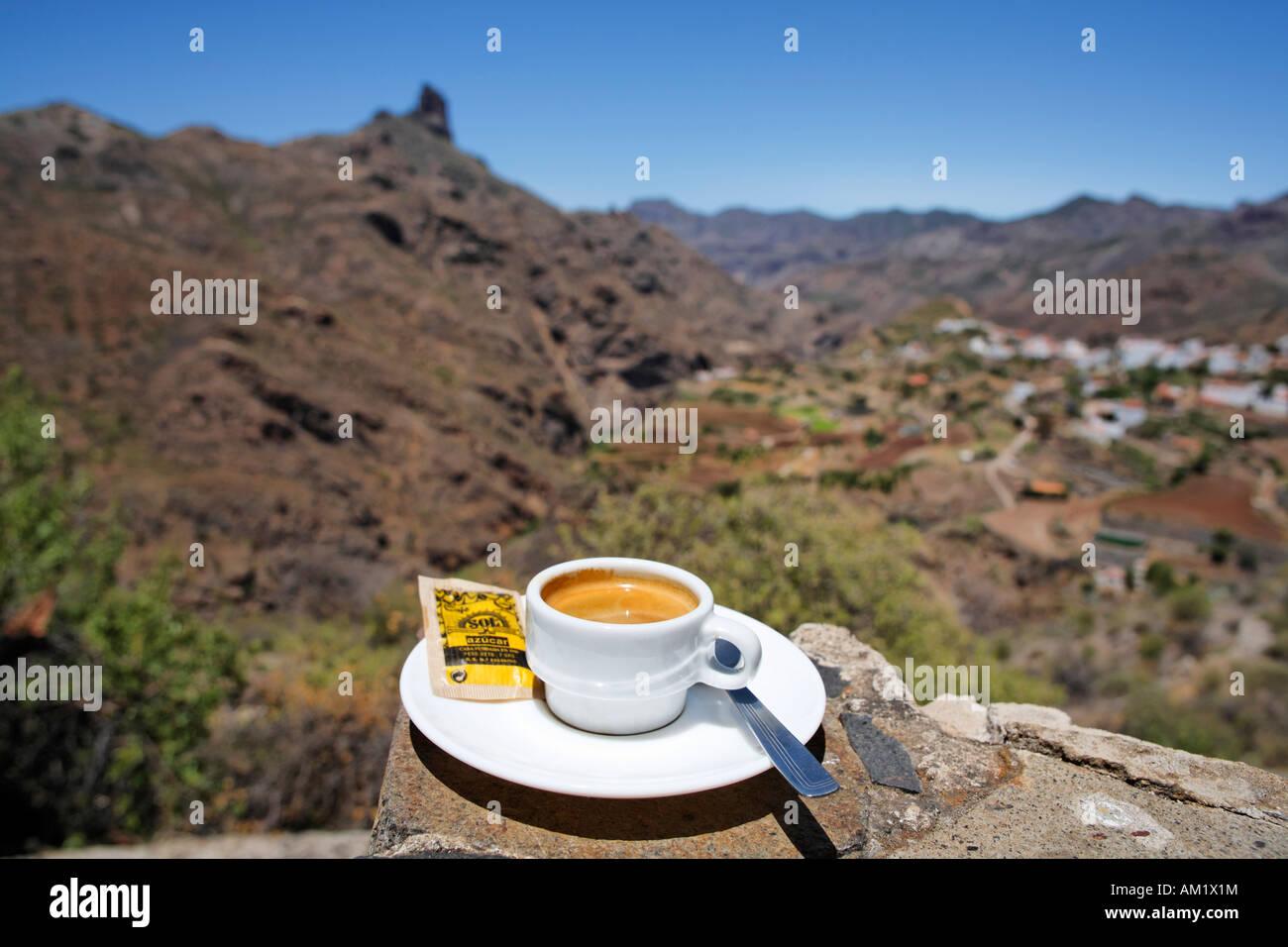 Cafe solo, Tejeda, Gran Canaria, Spain - Stock Image