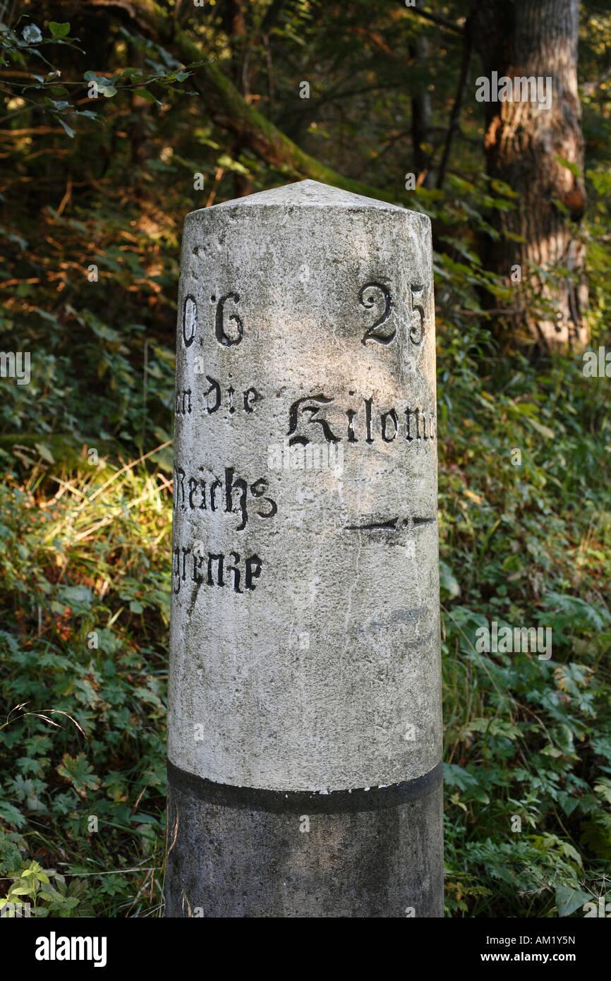 Milestone, Rhoen, Franconia, Bavaria, Germany - Stock Image