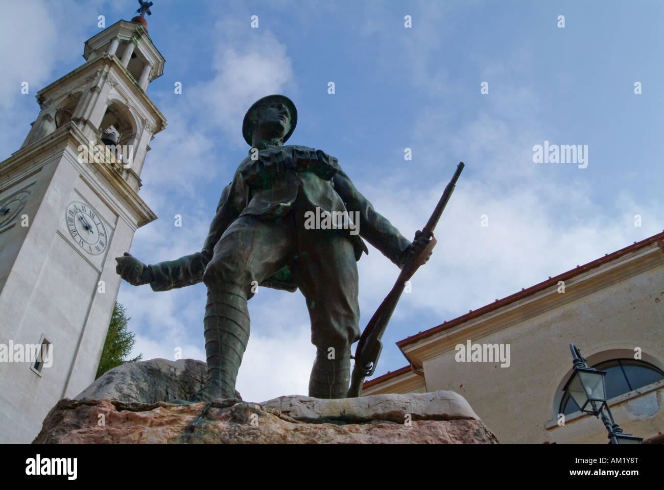 Soldier Statue, Belluno, Italy Stock Photo