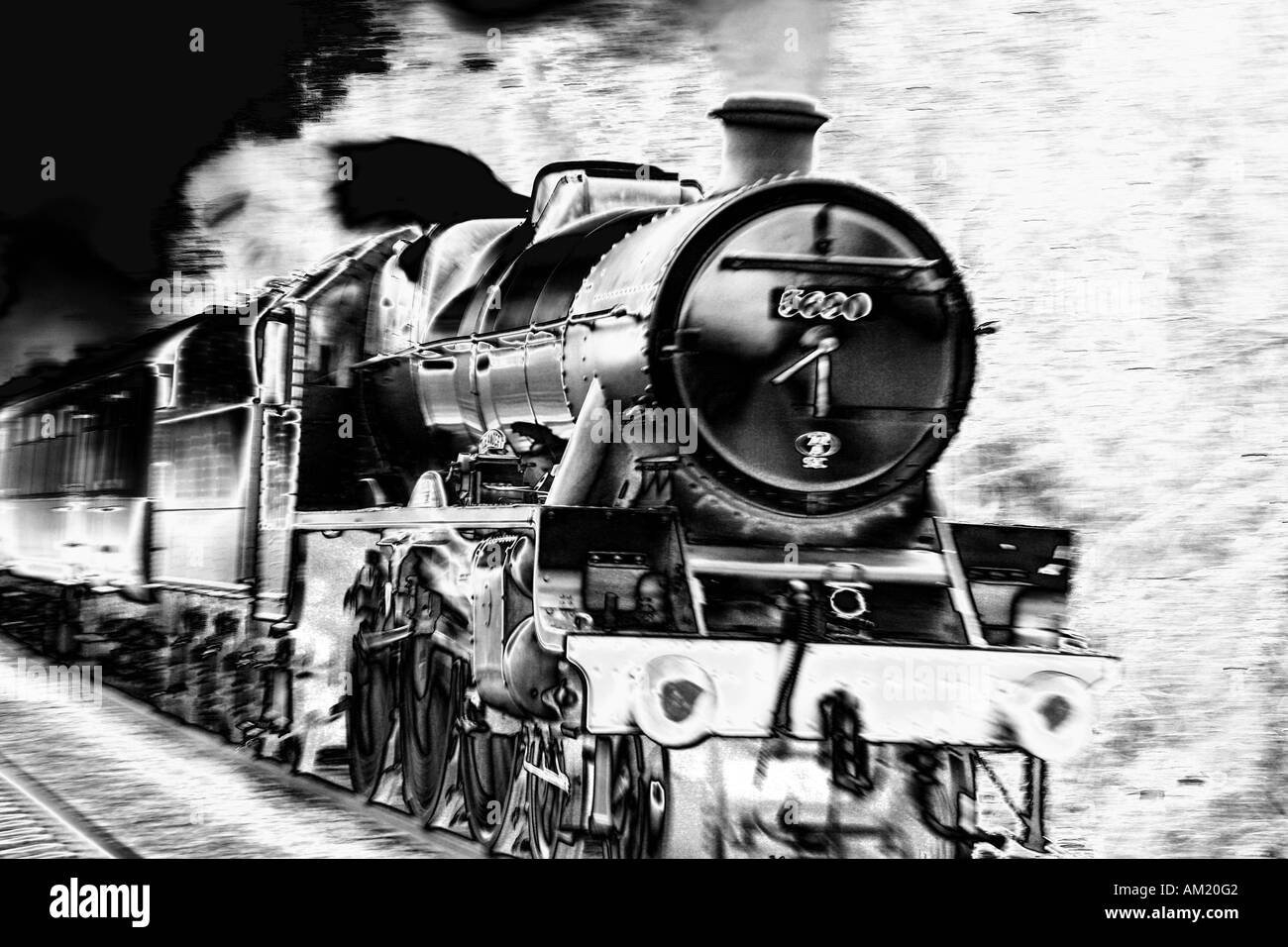 Jubilee Class 5690 ' Leander ' at speed. - Stock Image