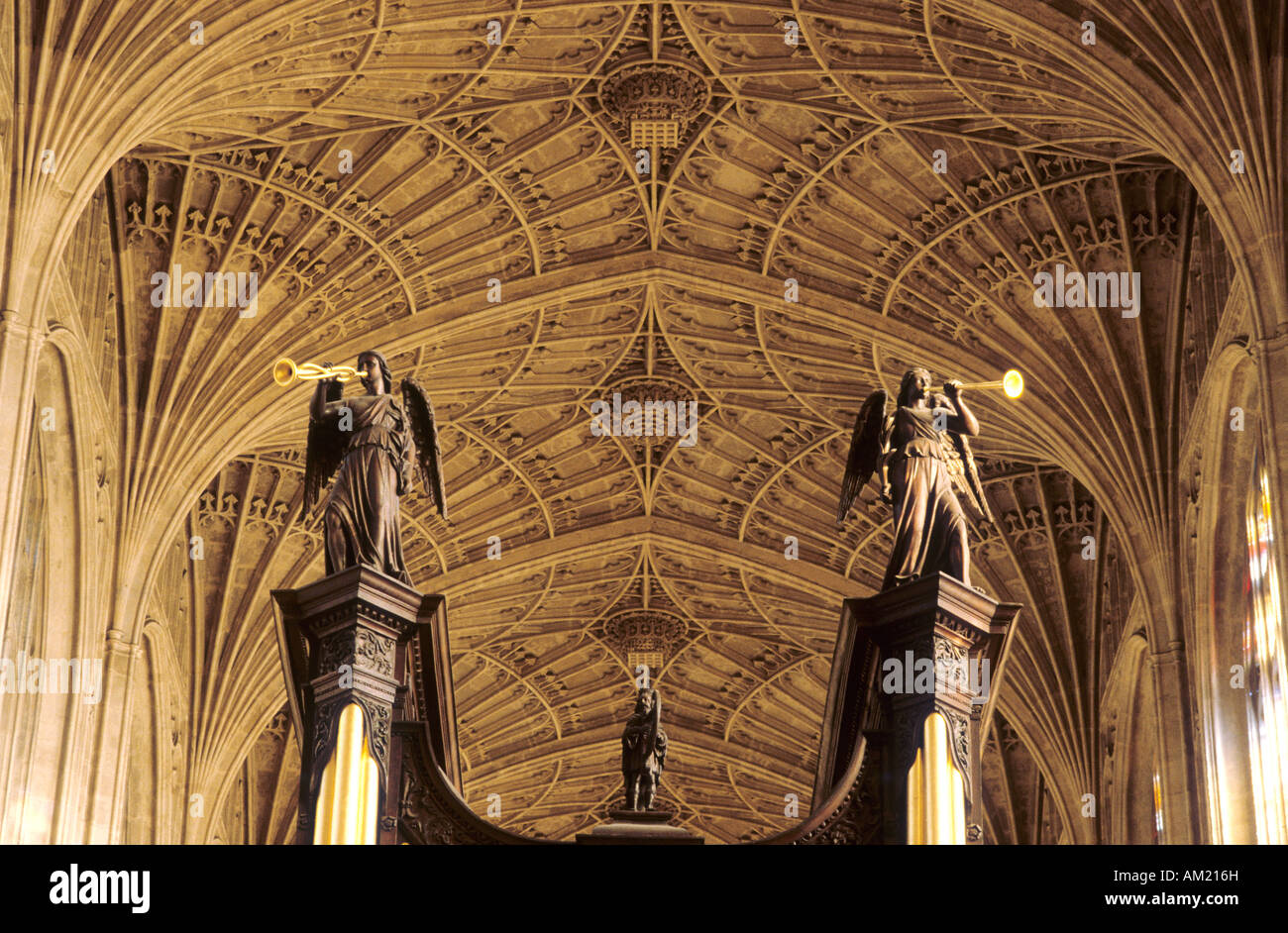 Kings College Chapel Cambridge fan vault 3 - Stock Image