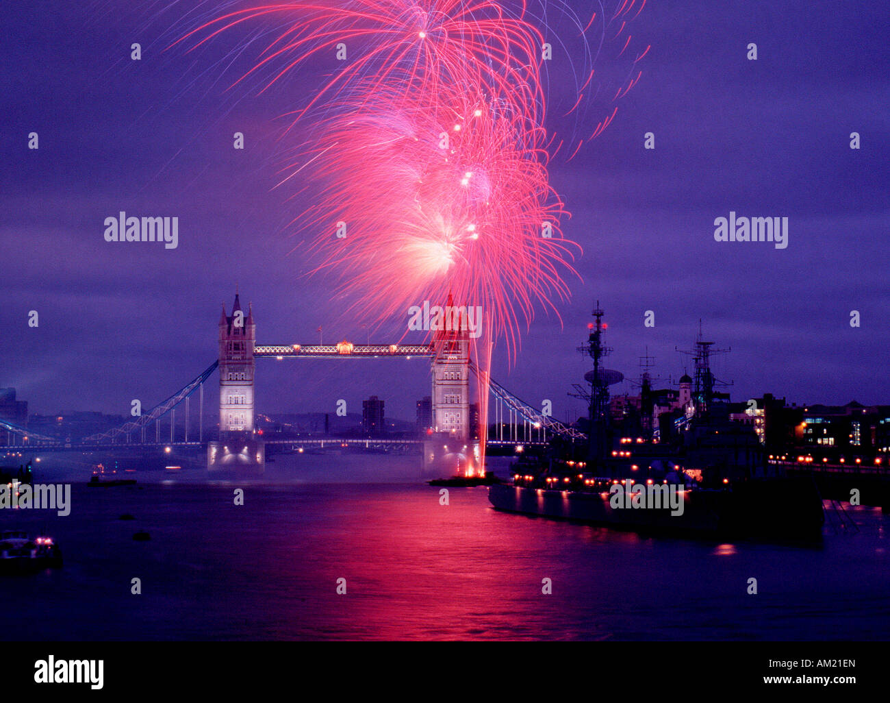Tower Bridge at night with Fireworks in London - Stock Image
