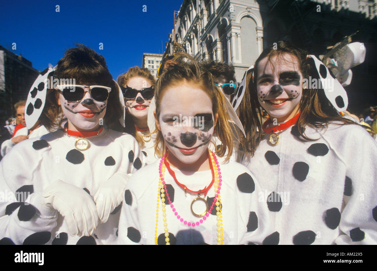 Little Girls Dressed in Mardi Gras Dalmatian Costumes New Orleans Louisiana  sc 1 st  Alamy & Little Girls Dressed in Mardi Gras Dalmatian Costumes New Orleans ...