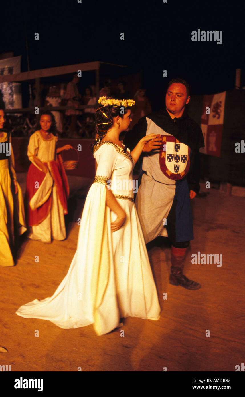 Dancing at night MIDDLE AGES FESTIVAL in ALBURQUERQUE Badajoz province Spain Stock Photo
