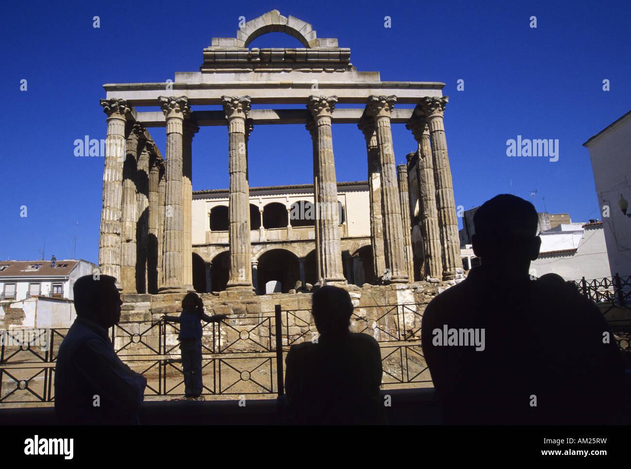 Temple of Diana MERIDA Badajoz Extremadura Spain - Stock Image