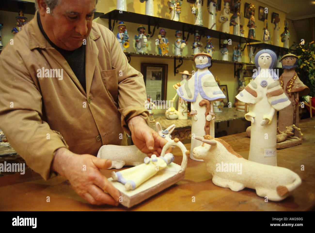 Rafael Ortega National prize of Crafts in his shop workshop MERIDA Badajoz Extremadura Spain - Stock Image