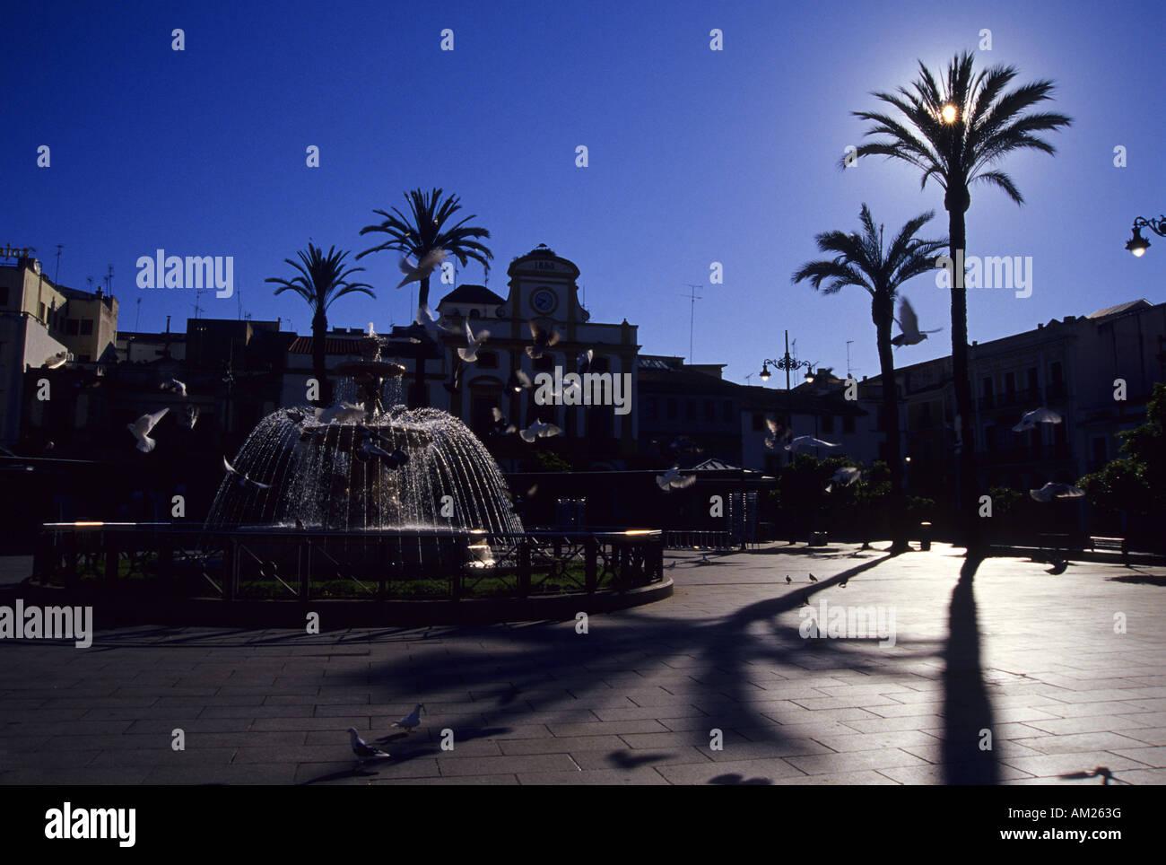 Spain Square and town hall MERIDA Badajoz Extremadura Spain - Stock Image