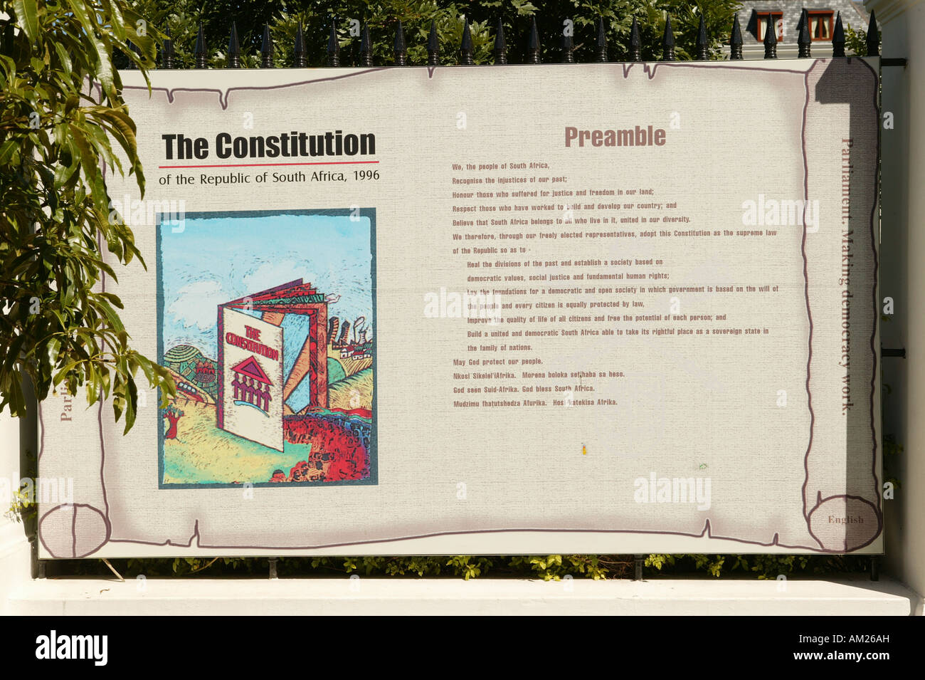 The basic rights of South Africa in Afrikaans in front of the parliament, Cape Town, South Africa - Stock Image