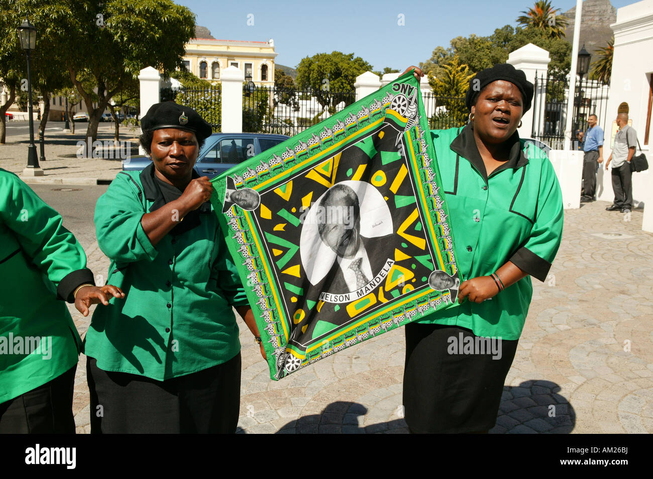 ANC Women´s League in front of the government building in Cape Town, holding a Nelson Mandela flag, Cape Town, - Stock Image