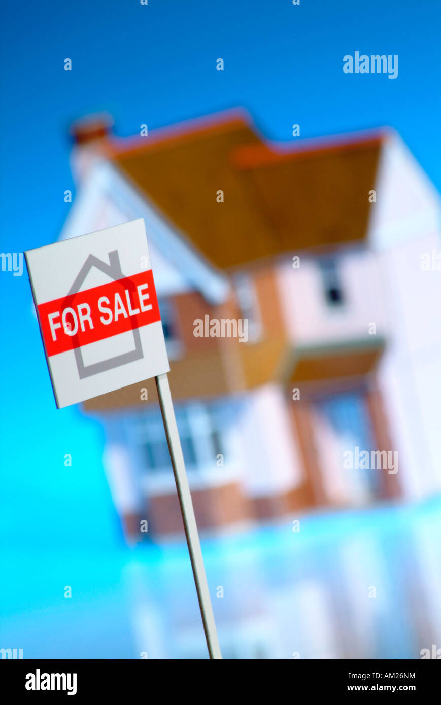 Model house with for sale sign - Stock Image