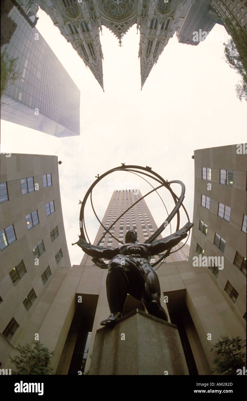 Atlas Rockefeller Center New York USA - Stock Image