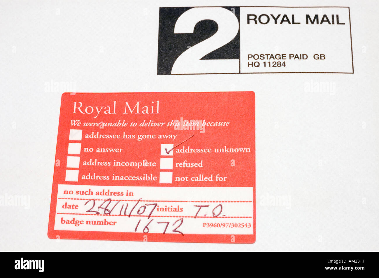 Royal Mail Sticker Used On Mail When Addressee Unknown - Stock Image