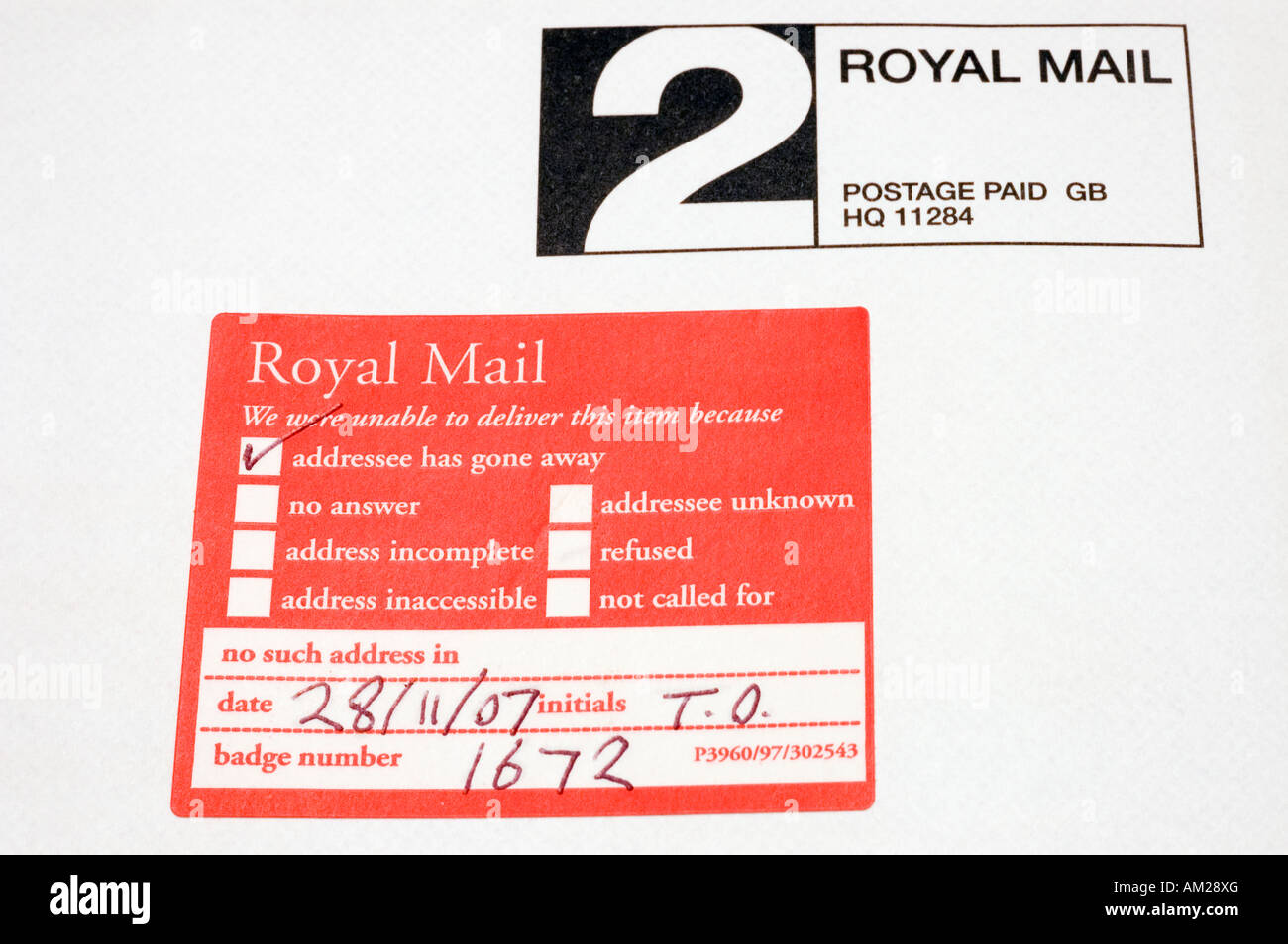 Royal Mail Sticker Used On Mail When Addressee Has Gone Away - Stock Image