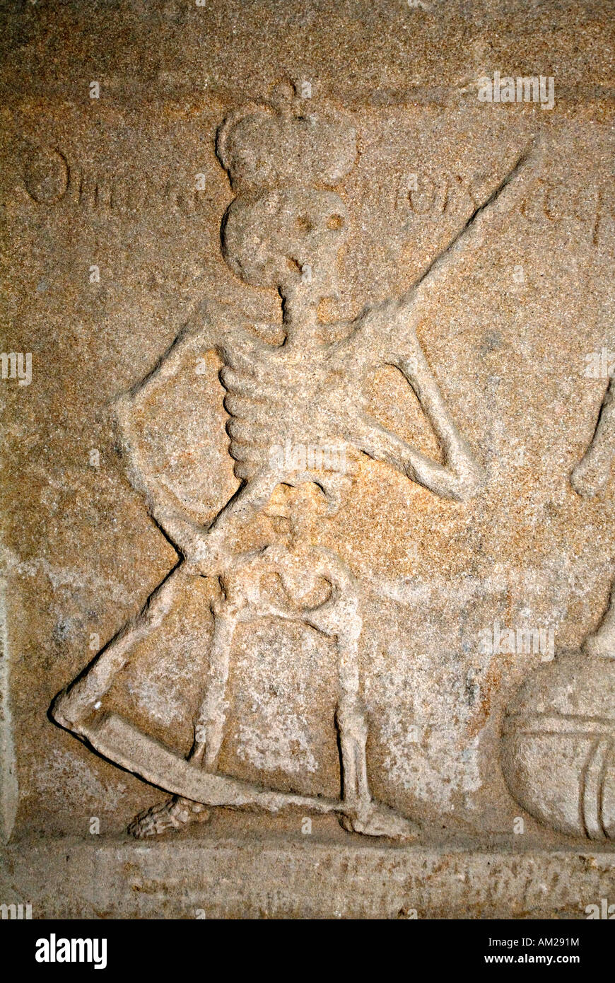 The Grim Reaper, Lord of Death, on Tombstone in the Crypt of Rosslyn Chapel Roslin Scotland UK - Stock Image
