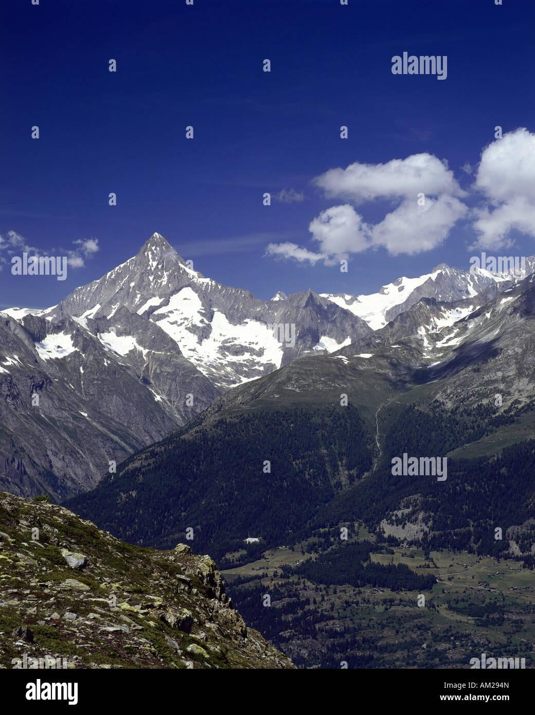 geography / travel, Switzerland, Wallis, landscape / landscapes, mountains, Bitschhorn (in the back), Ausserberg - Stock Image
