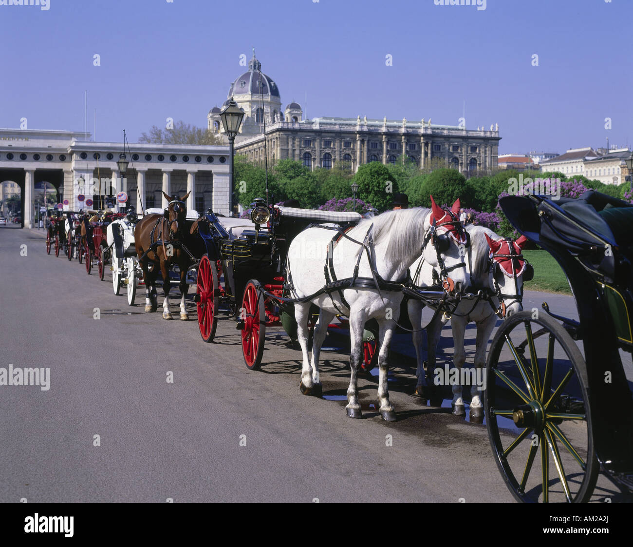 geography / travel, Austria, Vienna, squares, Heldenplatz, carriages at the Heldenplatz, Hofburg Imperial Palace, - Stock Image