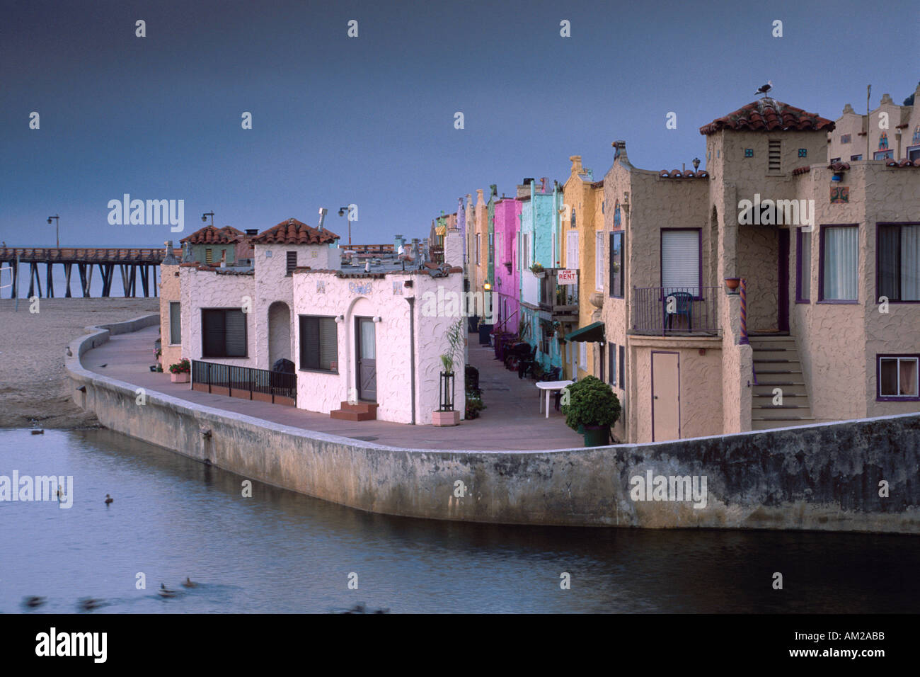 pastel color apartment houses water edge capitola beach santa cruz california coast