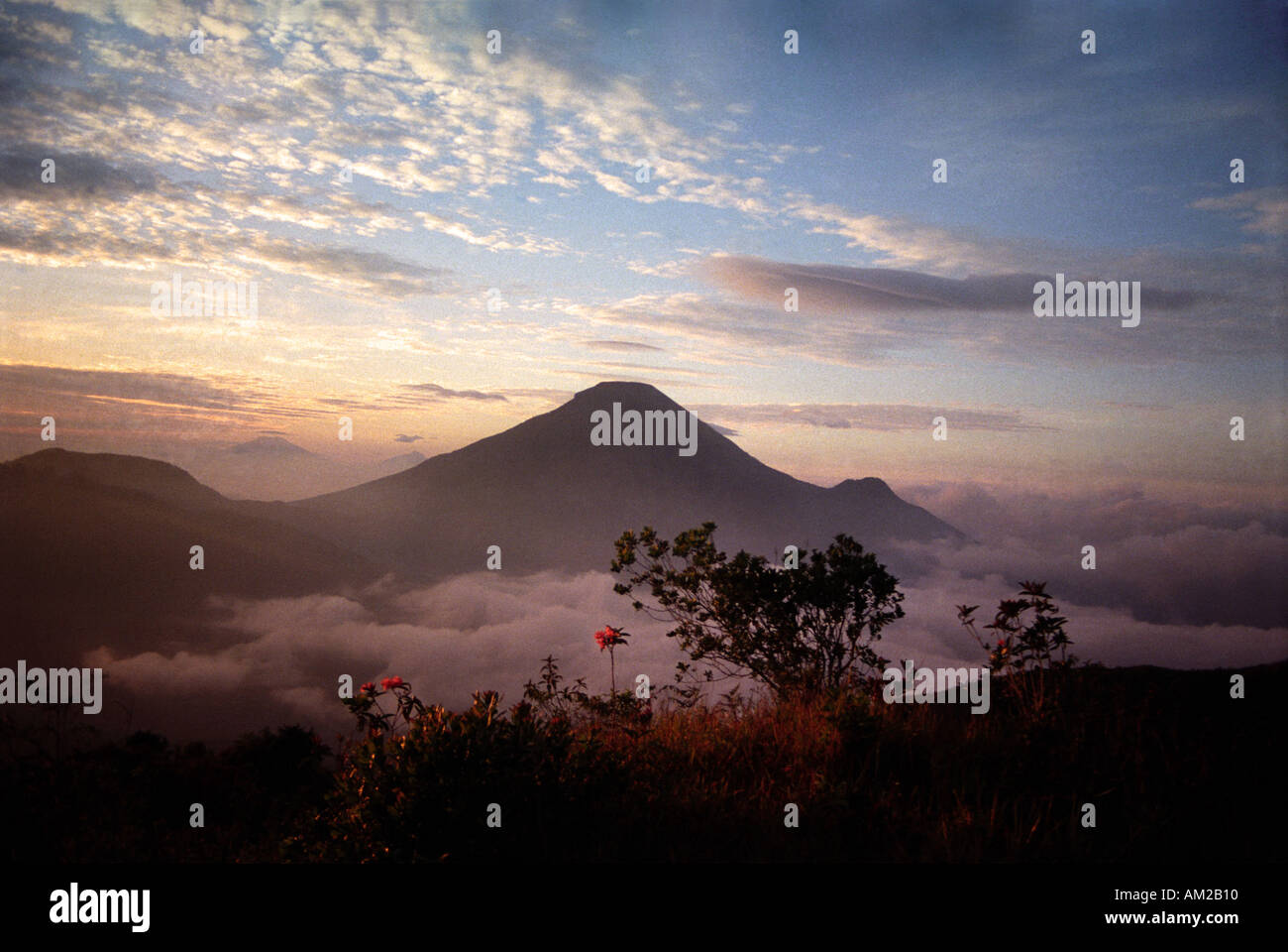 The Dieng Plateau in Central Java Mount Merapi in the distance and Gunung Sundoro in the foregroundStock Photo