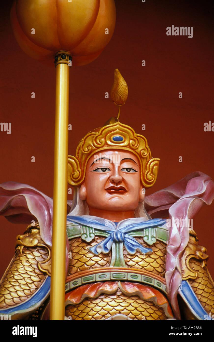 Guardian statues at the Chinese Temple Kota Kinabalu Sabah Malaysia - Stock Image