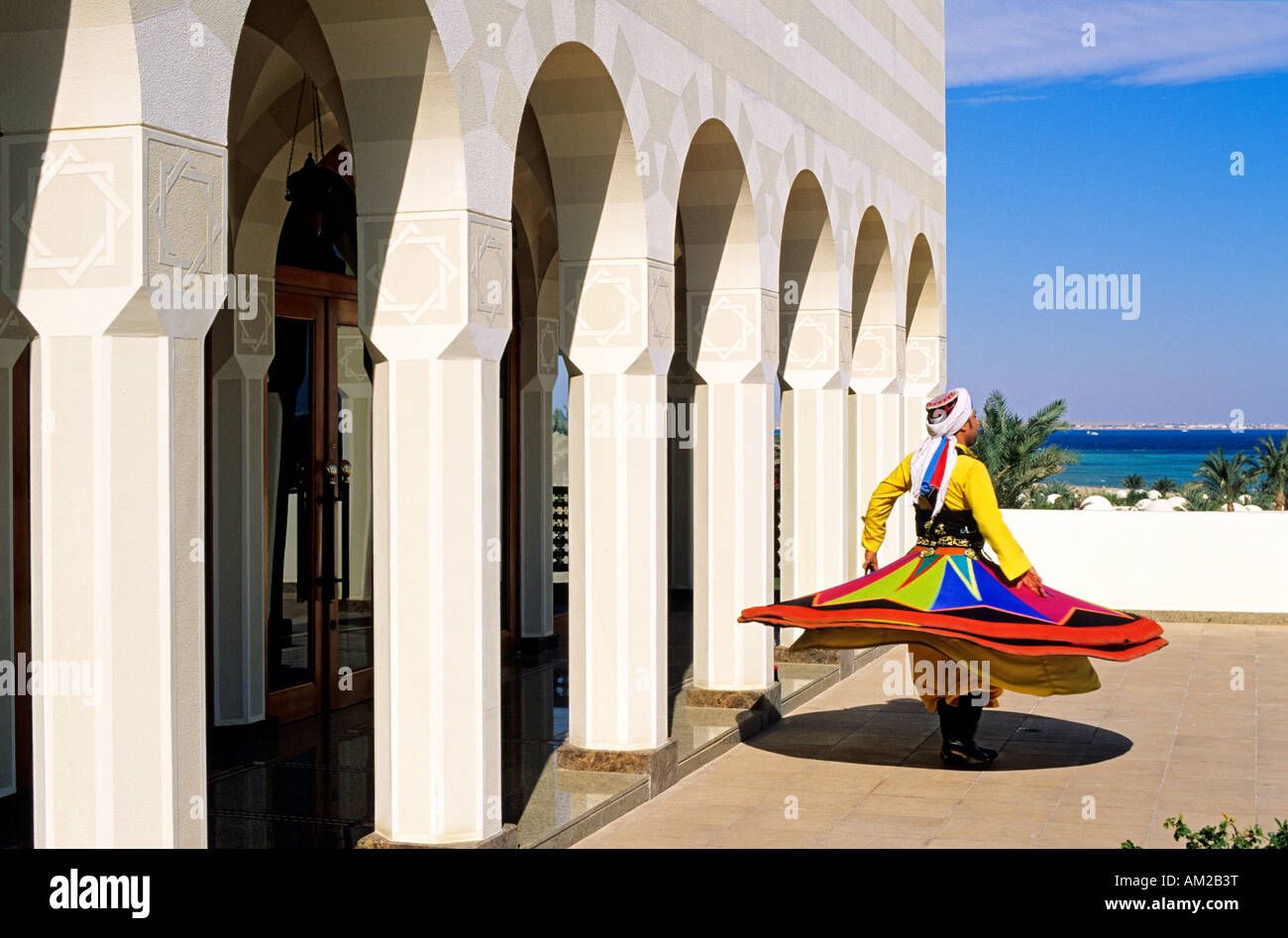 Egypt, Hurghada, The Oberoi Hotels & Resort, Sahl Hasheesh 5 star hotel, whirling dervish Stock Photo