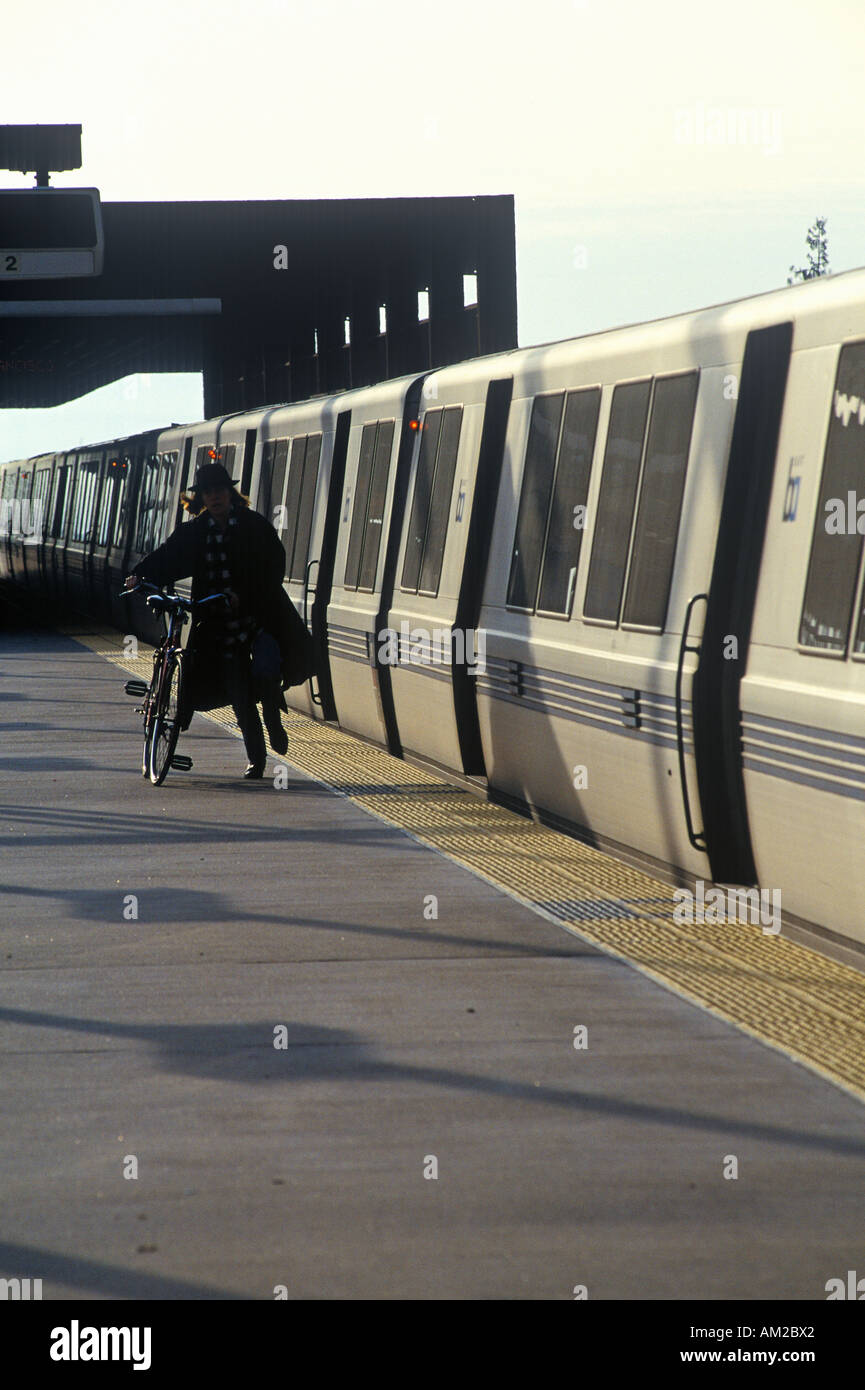 The San Francisco Bay Area Rapid Transit train commonly referred to as BART carries commuters to its next destination - Stock Image