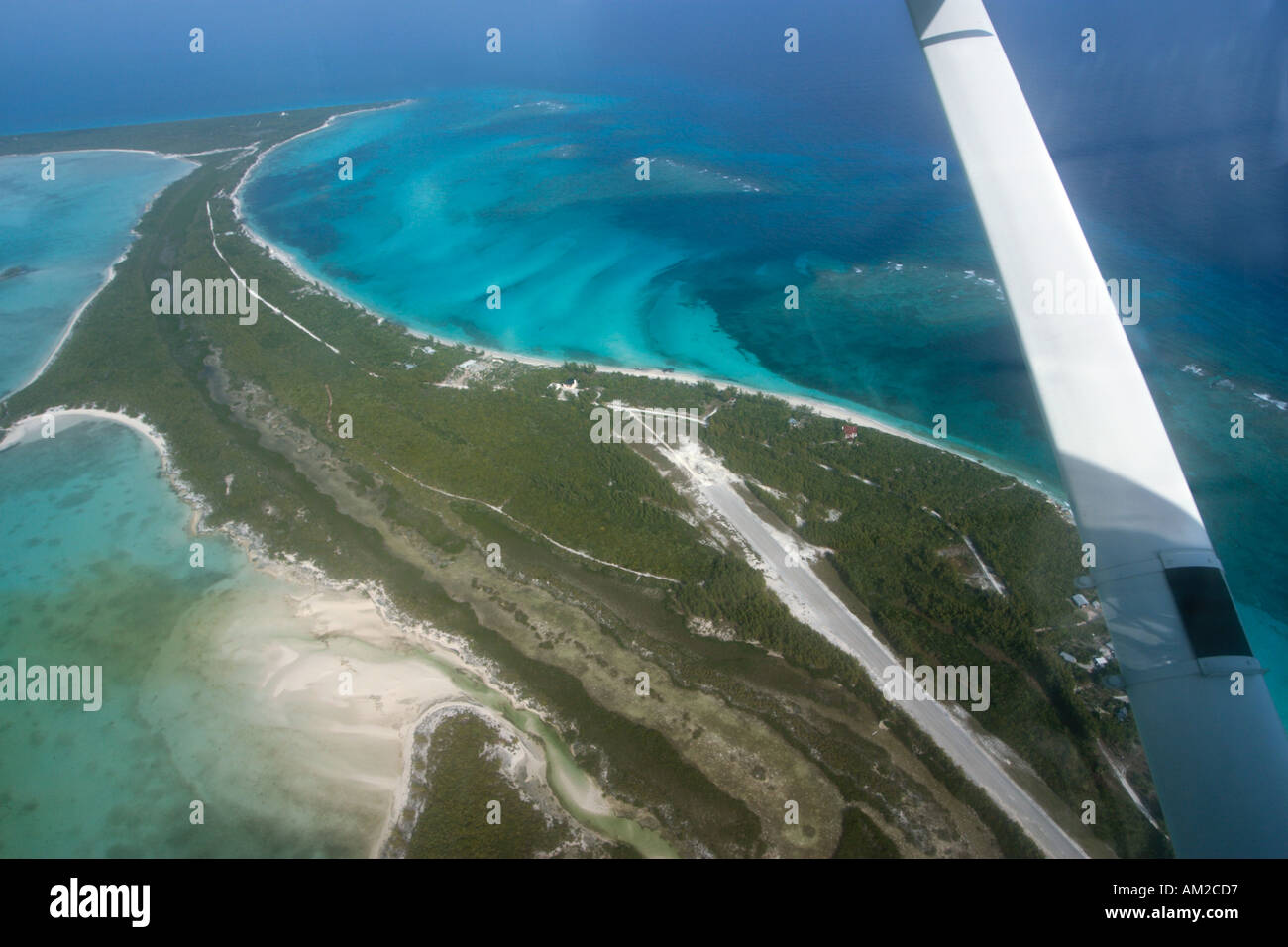 Aerial shot of  the airfield on Big Whale Cay, Berry Islands, Bahamas, Caribbean - Stock Image