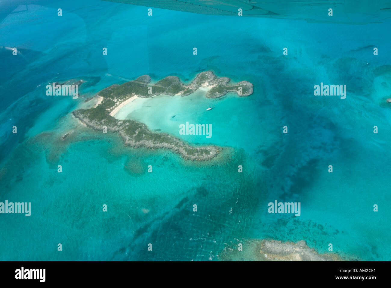 Aerial shot of the Northern Exumas from a private plane, Bahamas, Caribbean - Stock Image