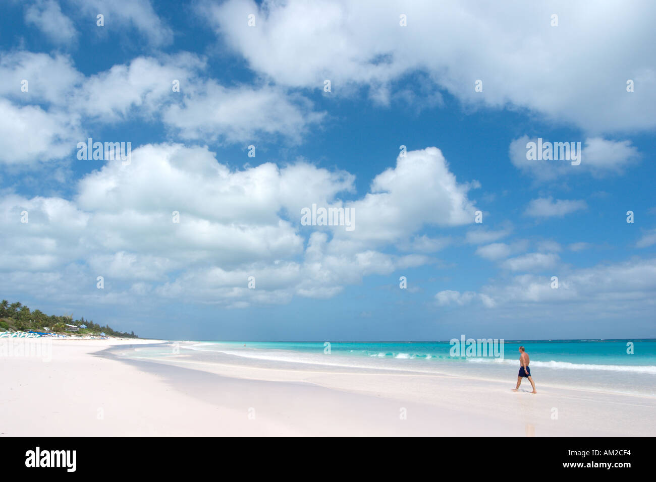 Pink sand beach, Harbour Island, Bahamas, Out Islands, Caribbean - Stock Image