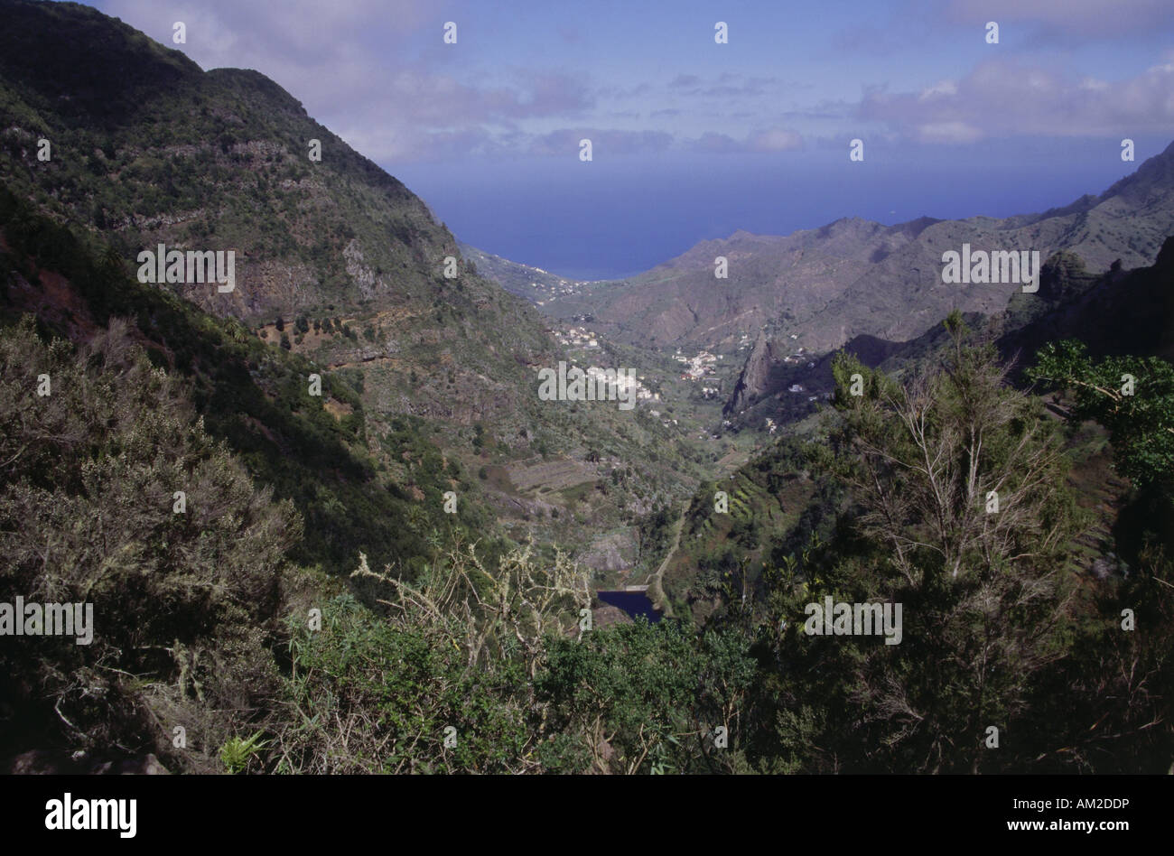geography / travel, Spain, Canary Islands, La Gomera, landscapes, view from El Cedro towards Hermigua, Northern Stock Photo