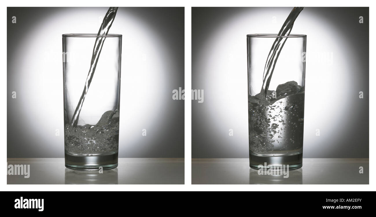 TWO PICTURE SEQUENCE OF WATER POURING INTO GLASS TUMBLER - Stock Image
