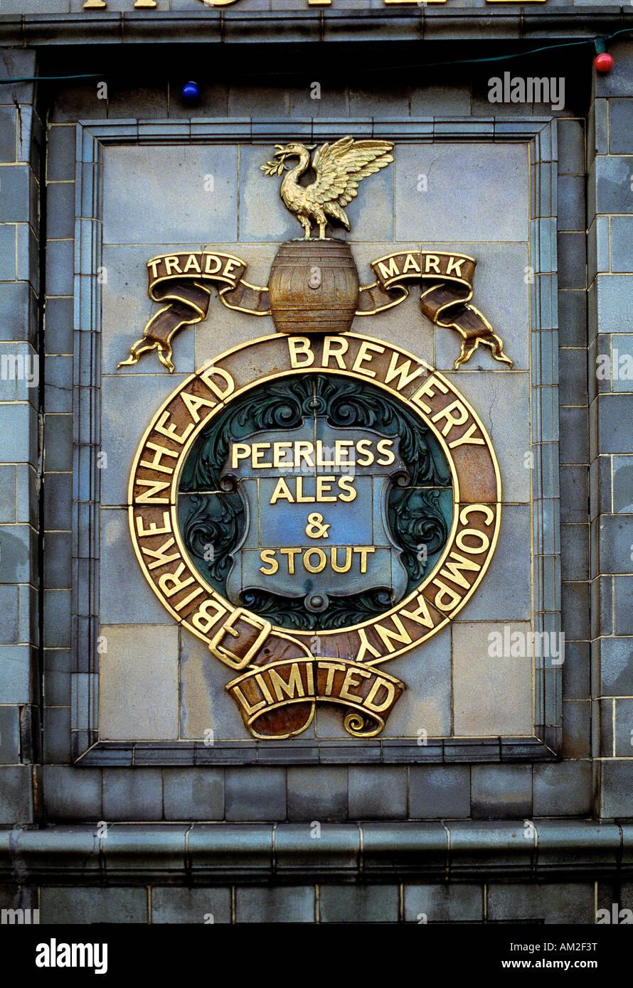 Historic Birkenhead brewery sign, Birkenead, Merseyside, England. - Stock Image