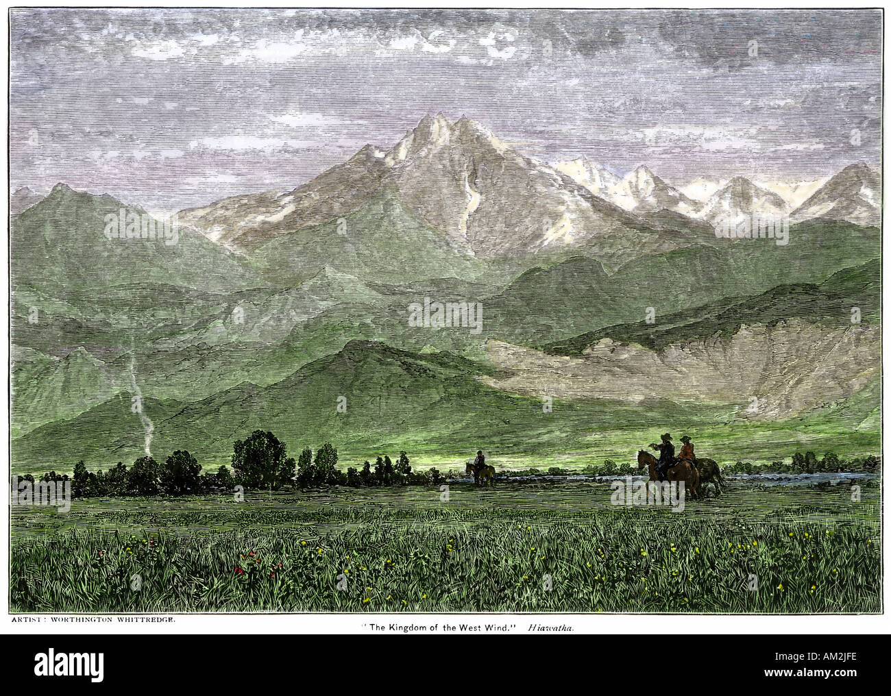 Rocky Mountains with horseback riders in a valley. Hand-colored woodcut - Stock Image