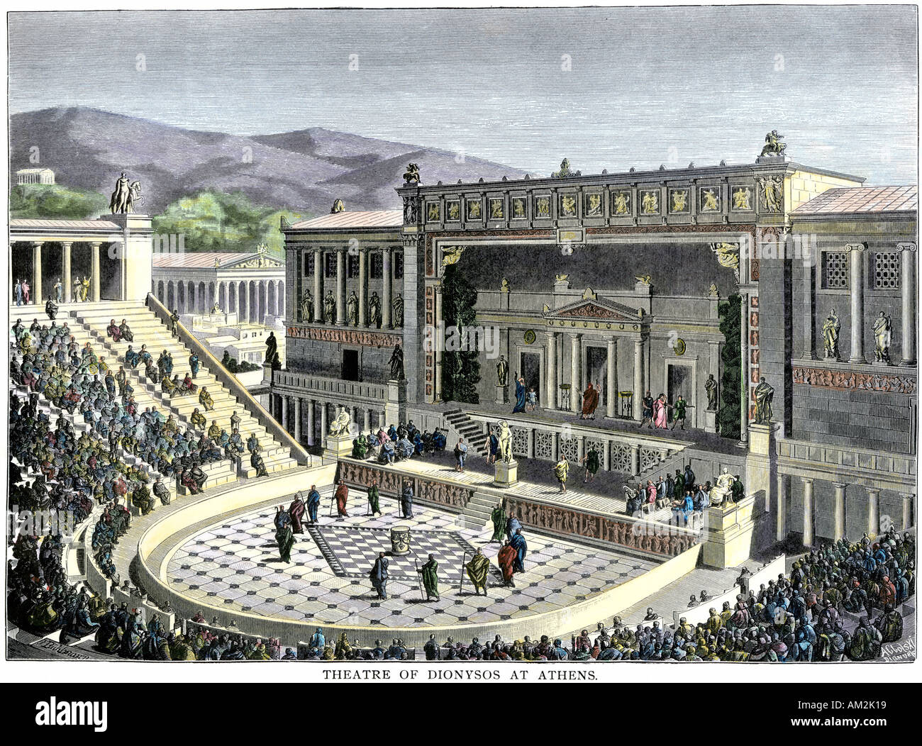 Performance at the Theatre of Dionysus in Athens ancient Greece. Hand-colored woodcut - Stock Image