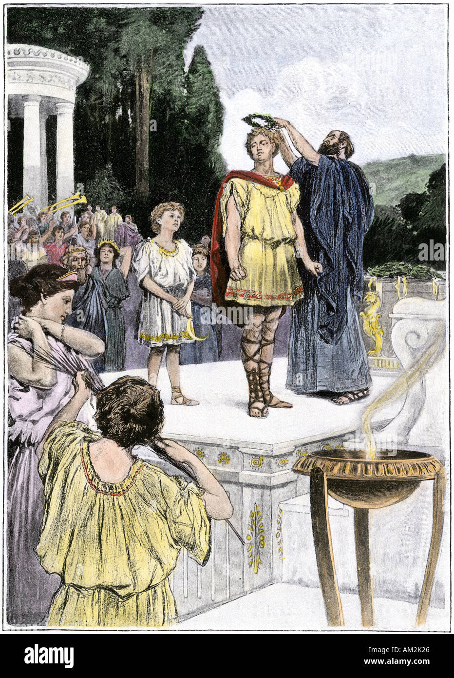Crowning an Olympic winner with laurel ancient Greece. Hand-colored halftone of an illustration - Stock Image