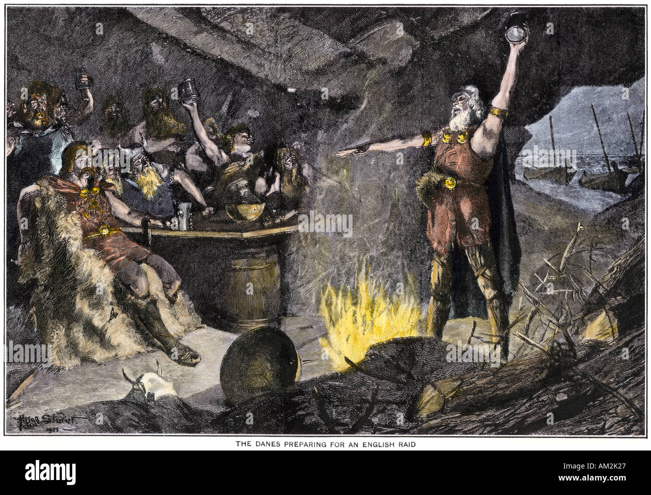 Danish Vikings preparing for a raid on the British coast. Hand-colored halftone of an illustration - Stock Image