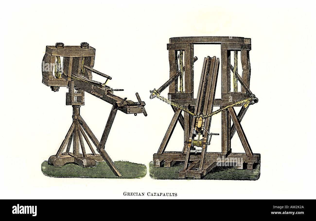 Catapaults for siege warfare in ancient Greece. Hand-colored woodcut - Stock Image