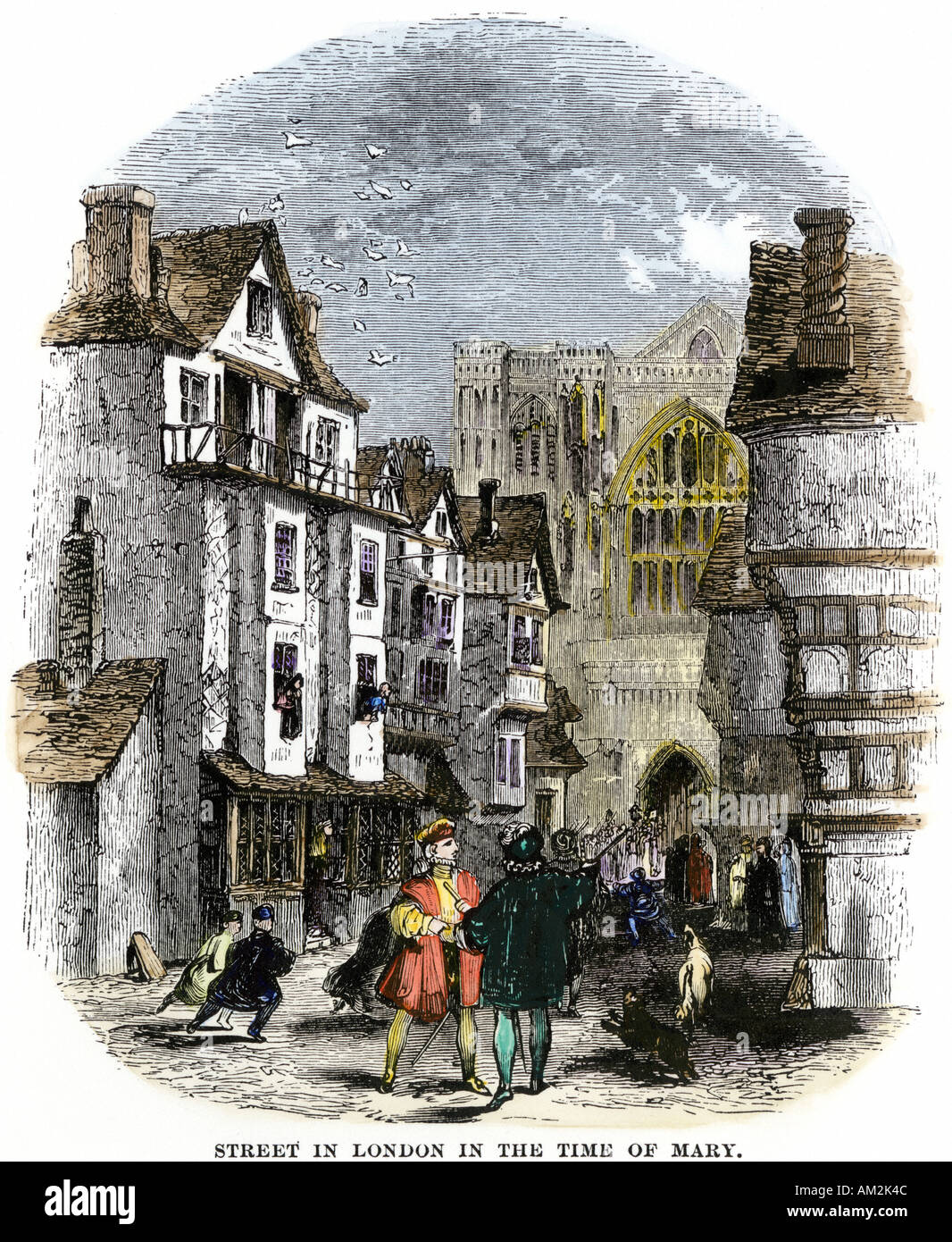 Street in London under Mary Tudor early 1500s. Hand-colored woodcut - Stock Image