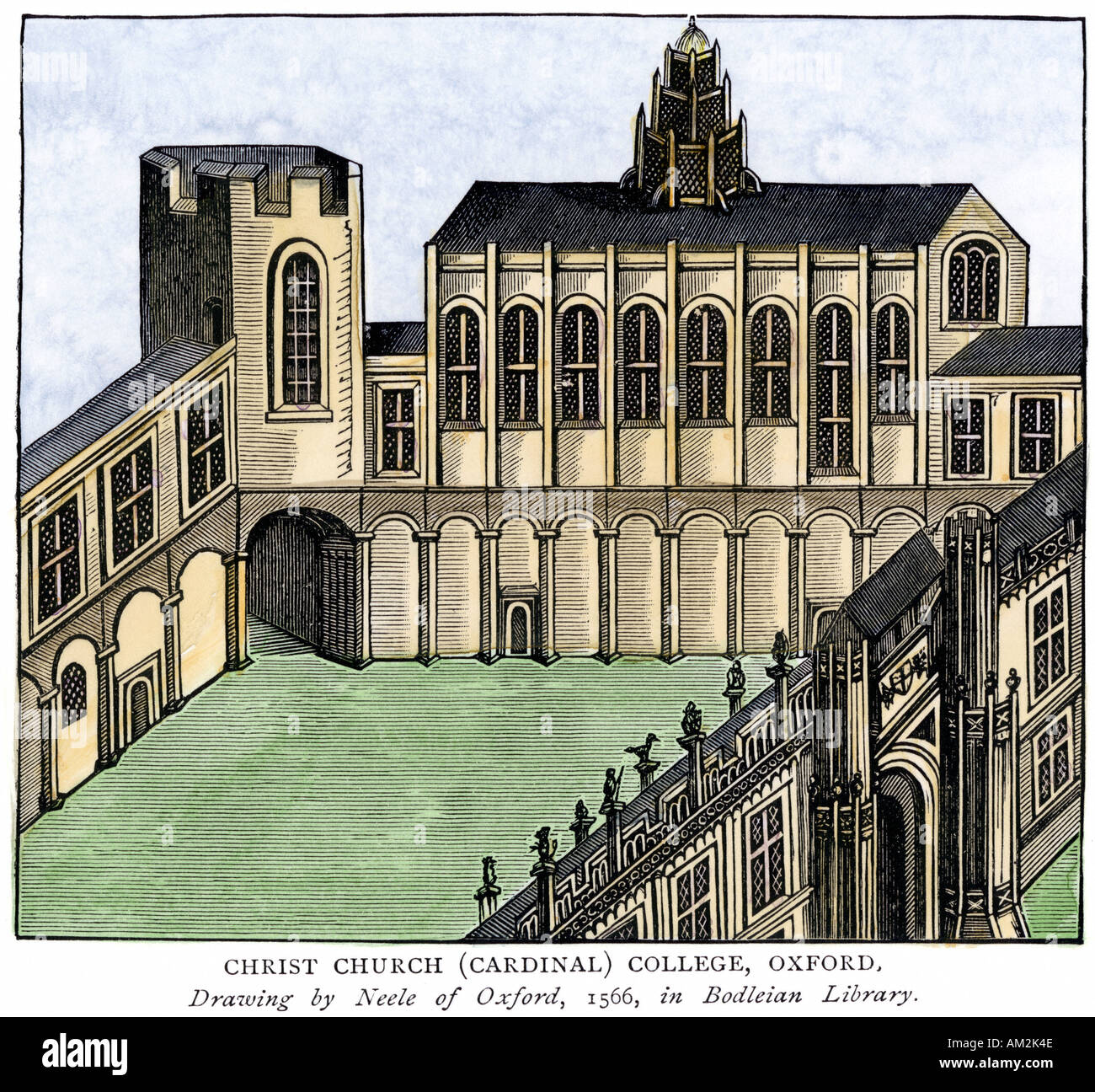 Christ Church Cardinal College Oxford University 1566. Hand-colored woodcut - Stock Image