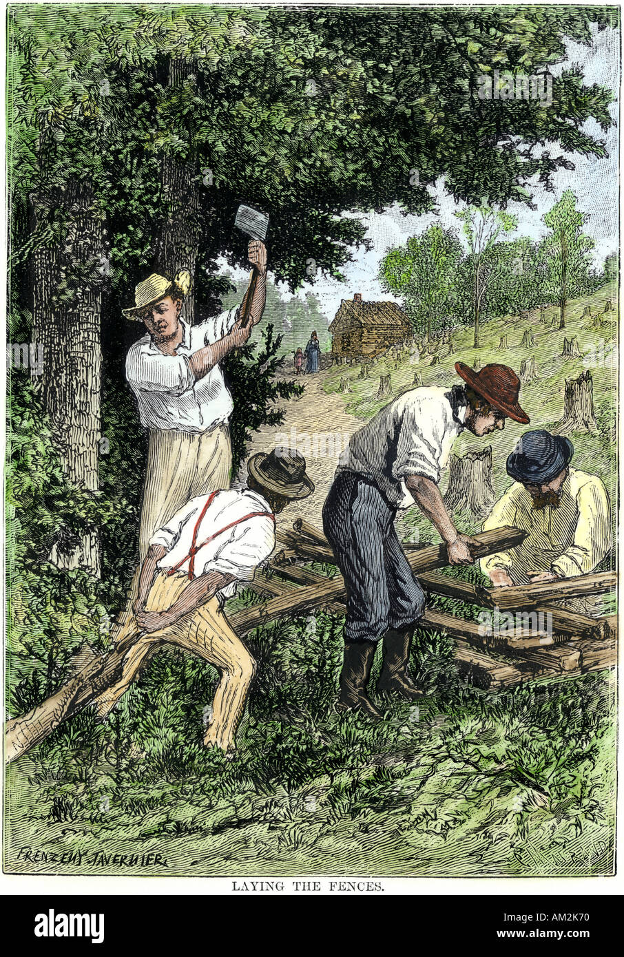 Settlers building a fence around a homestead on the frontier 1800s. Hand-colored woodcut - Stock Image