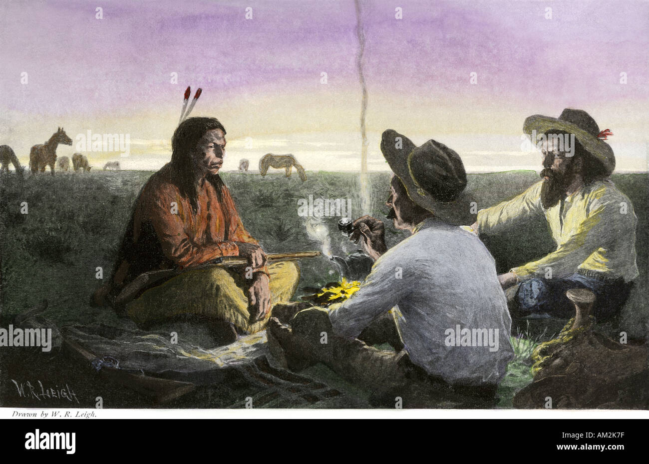 Native American joining cowboys at their campfire late 1800s. Hand-colored halftone of an illustration - Stock Image