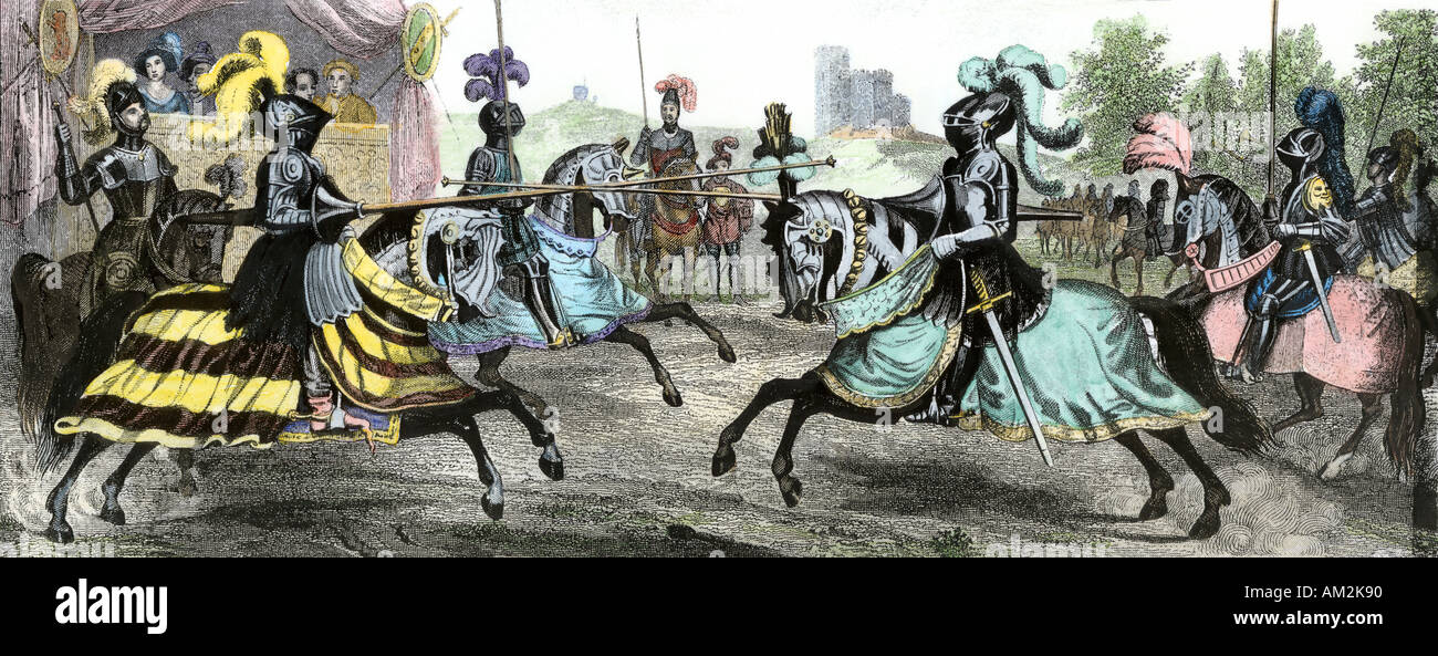 Knights in a tournament during the Middle Ages. Hand-colored engraving - Stock Image