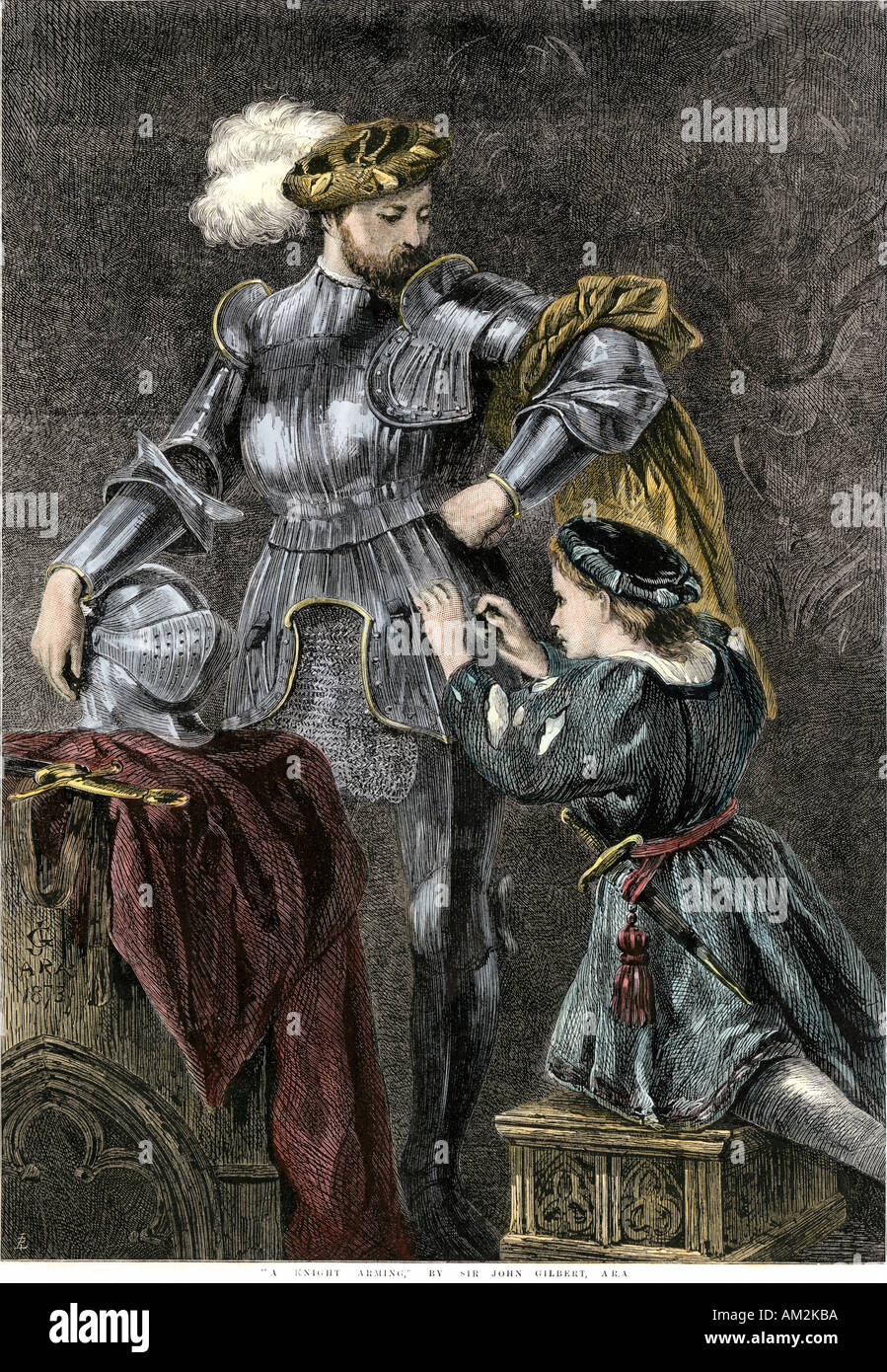 Knight being dressed in armor. Hand-colored woodcut of a John Gilbert painting - Stock Image