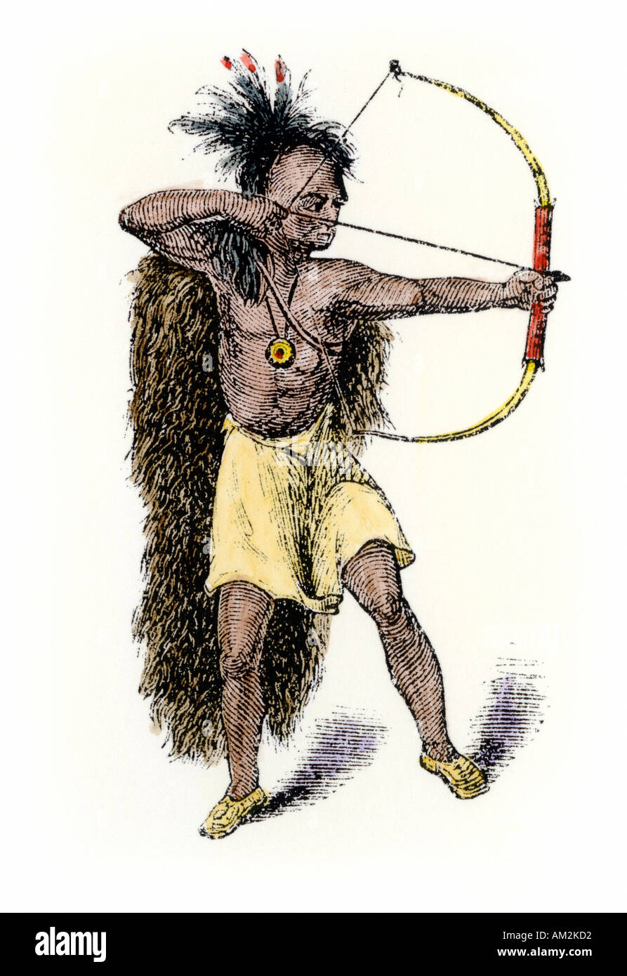 Iroquois warrior aiming his bow and arrow. Hand-colored woodcut - Stock Image