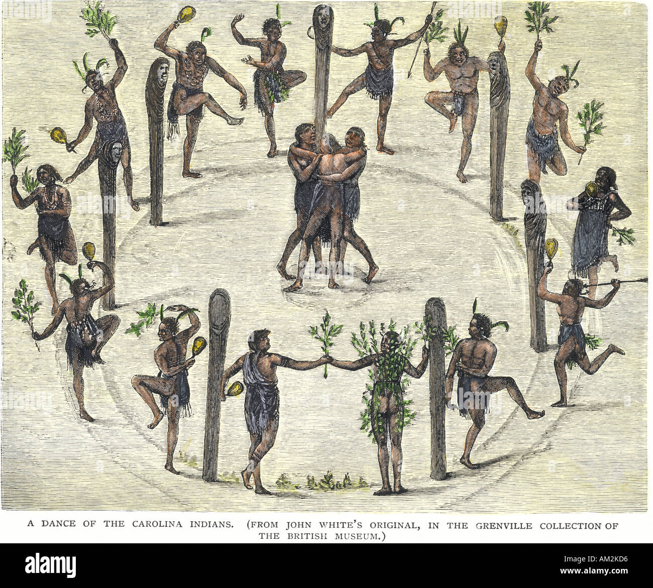 Ceremonial dance of the Carolina Native Americans 1500s. Hand-colored woodcut of a John White illustration - Stock Image
