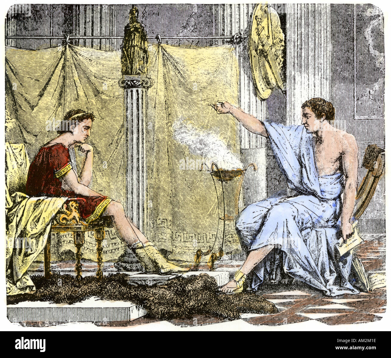 Aristotle instructing the young Alexander the Great. Hand-colored woodcut - Stock Image