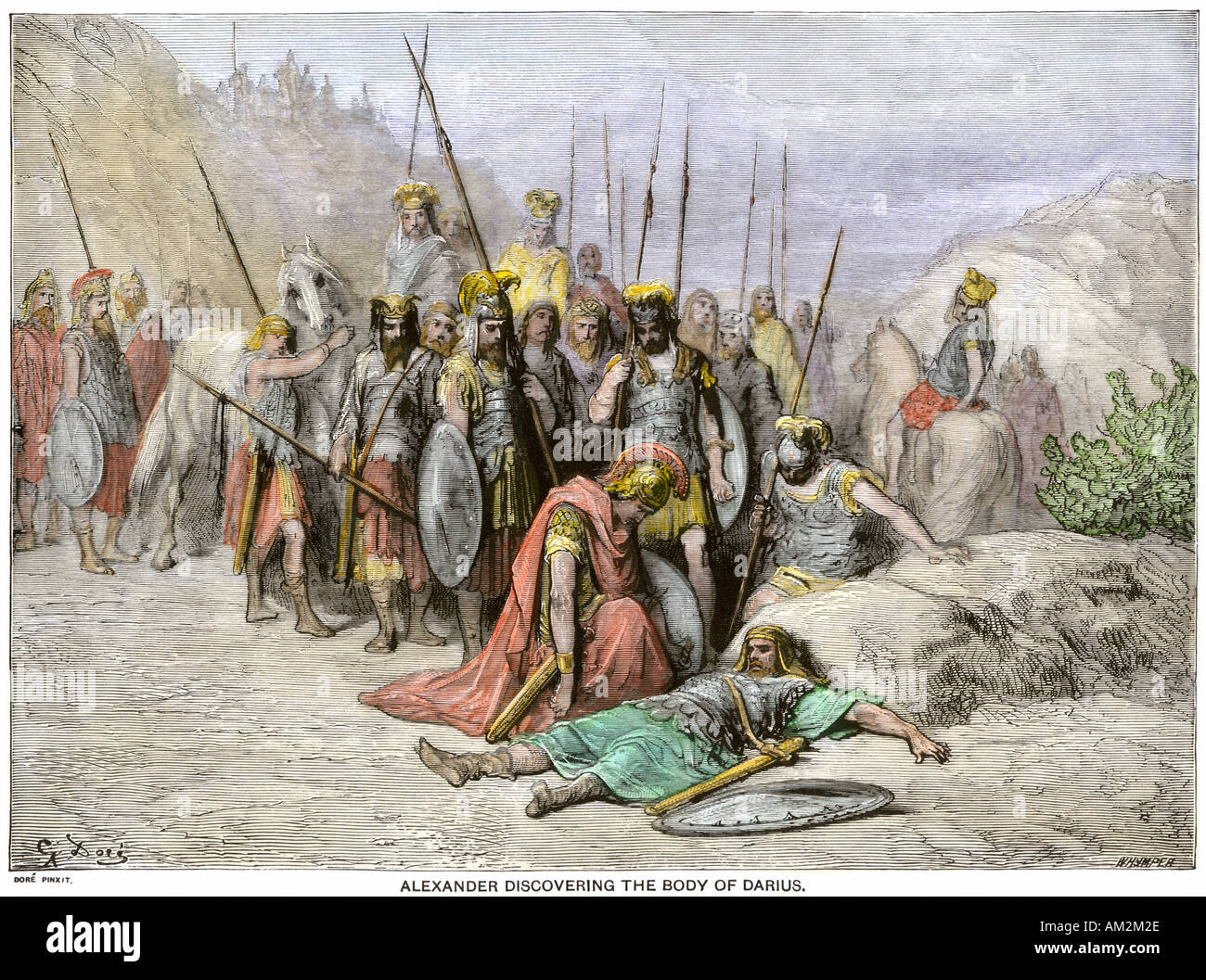Alexander the Great discovering the body of Darius King of Persia 331 BC. Hand-colored woodcut of a Gustave Dore illustration - Stock Image