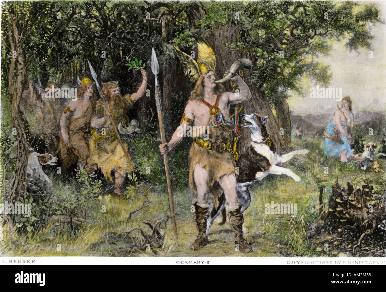 Germanic tribal leader Hermann blowing his horn to call the Cherusci to arms against the Romans - Stock Image