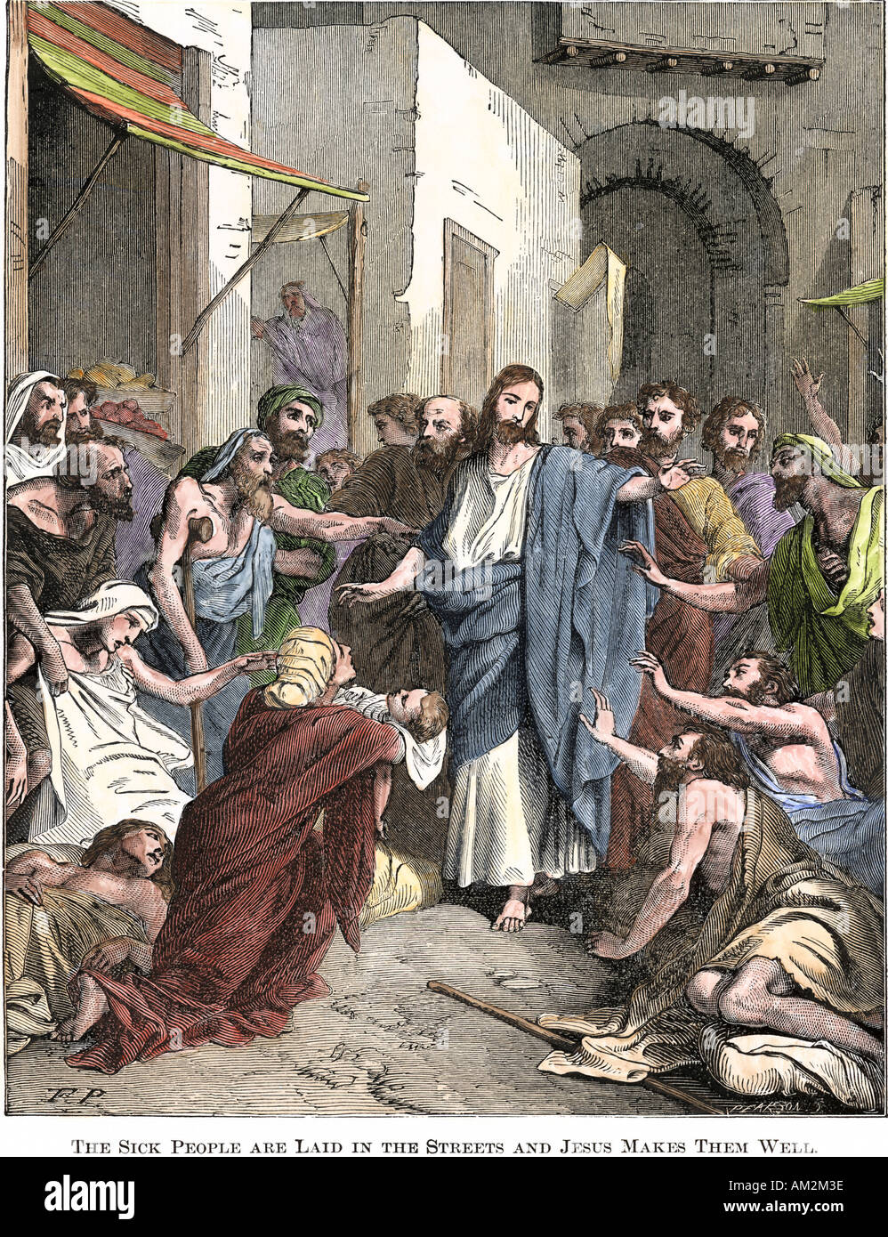 Sick people are laid in the streets for Jesus to make well. Hand-colored woodcut - Stock Image