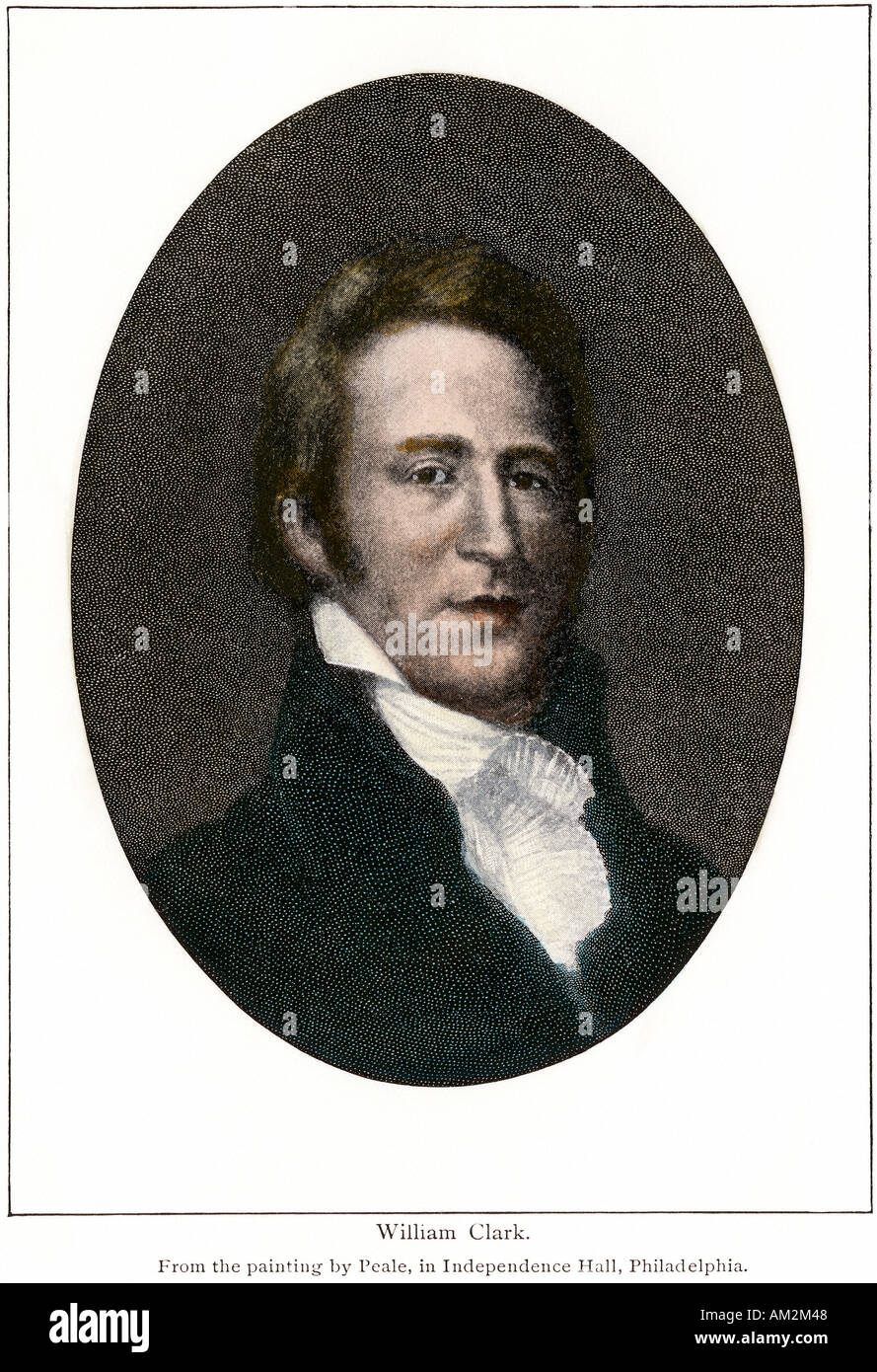 Portrait of explorer William Clark. Hand-colored halftone - Stock Image