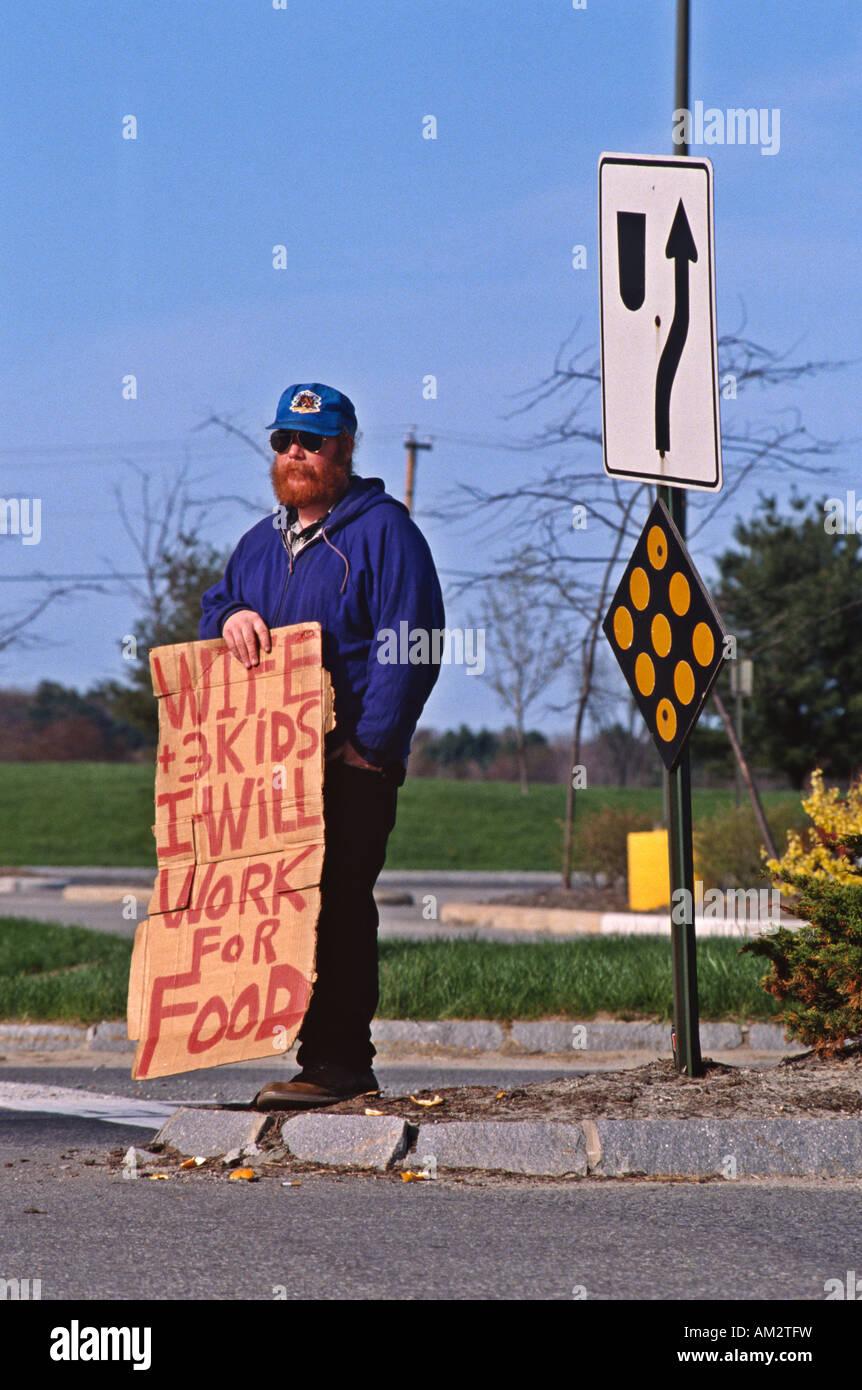 Indigent man New Hampshire USA - Stock Image